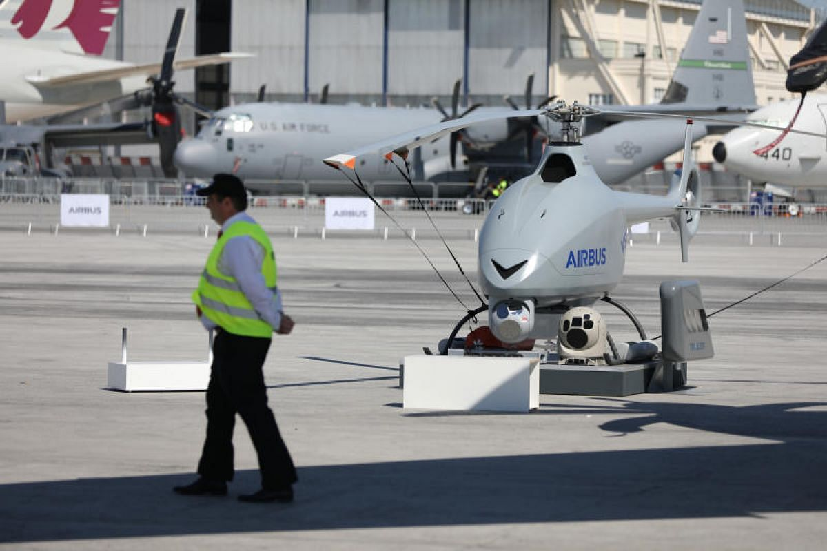 An Airbus SE unmanned aerial vehicle (UAV) sitting on the tarmac on Sunday (June 18), ahead of the start of air show, which is the world's largest aviation and space industry exhibition