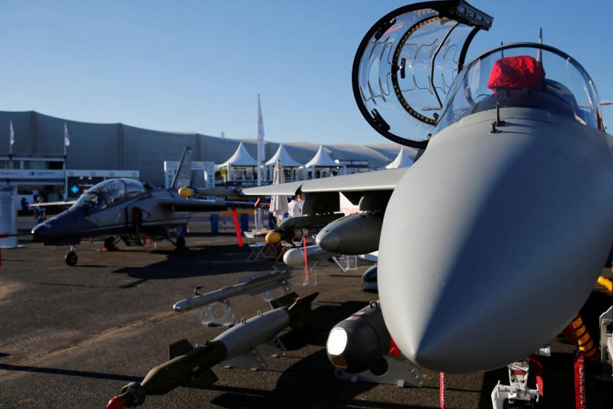A Leonardo M-346FA fighter attack aircraft on display at the aviation showcase, which ends on Sunday (June 25). The aircraft can be equipped with a variety of missiles, cannons and guided bombs, making it an ideal light attack aircraft.