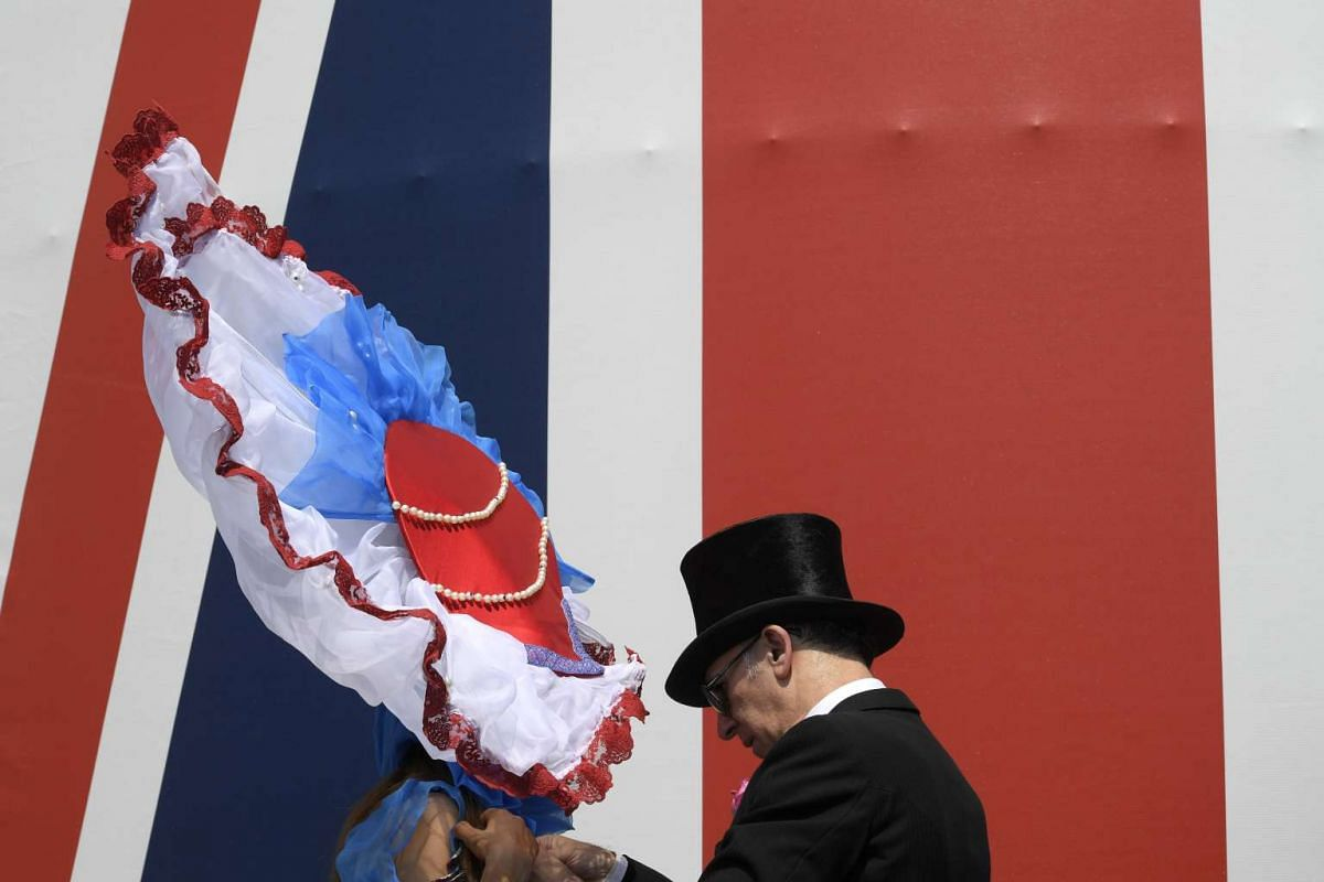 General view of a racegoers' hats before the races at the Royal Ascot  Racecourse on June 20, 2017