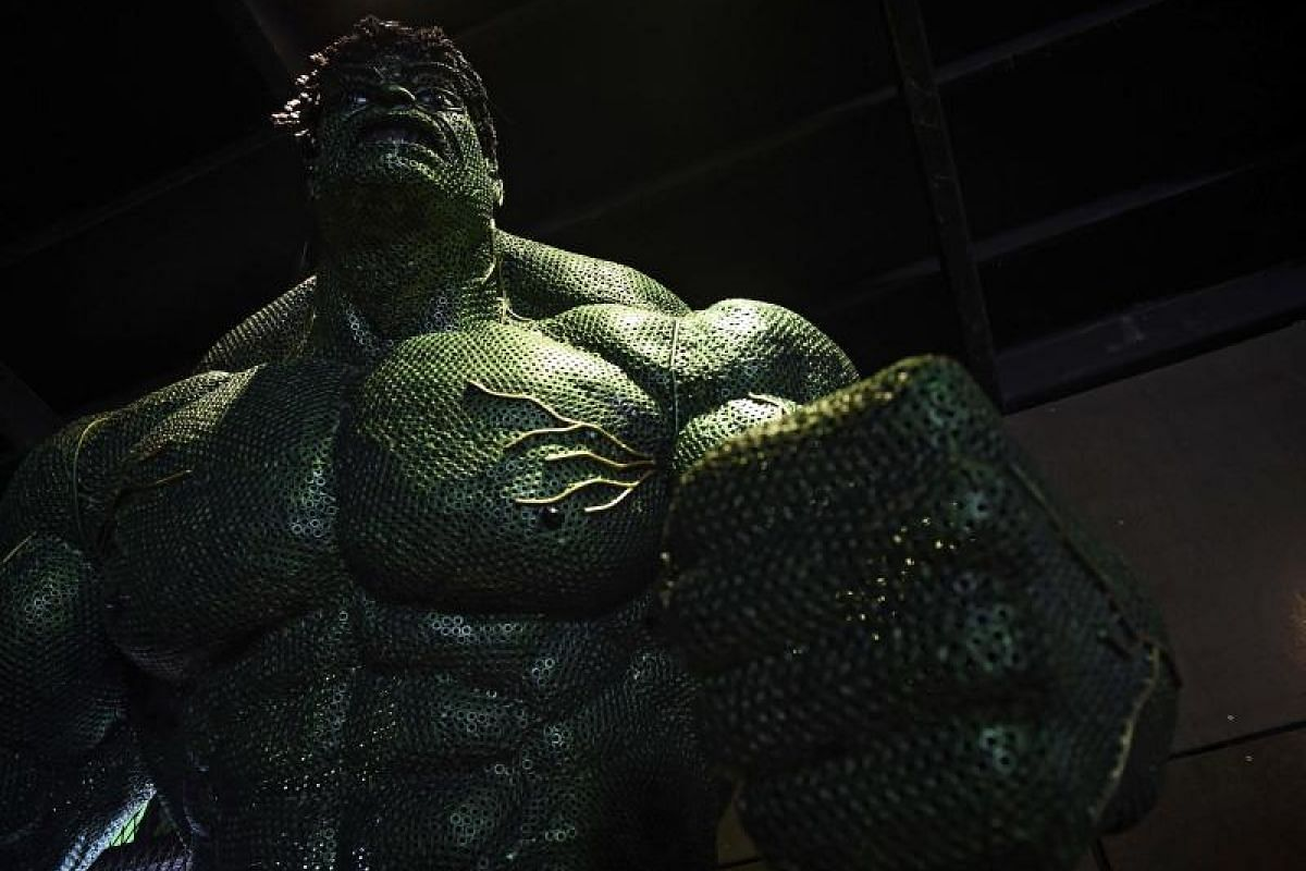 """""""Don't make me angry. You wouldn't like me when I'm angry,"""" says the Hulk. But this giant statue of the Hulk is unlikely to be furious."""