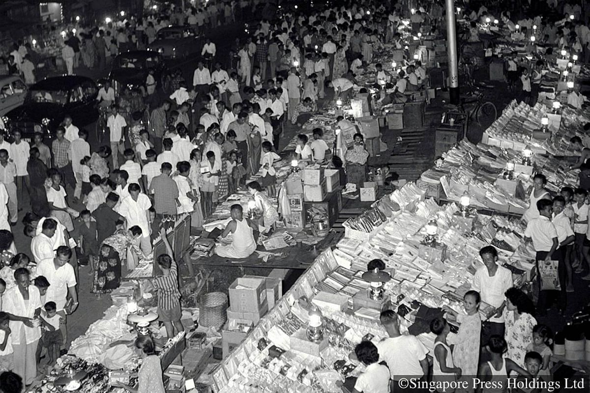 1961: Geylang Serai on the eve of Hari Raya Puasa. Muslims usually flock there to purchase almost all the things they require for the festival.