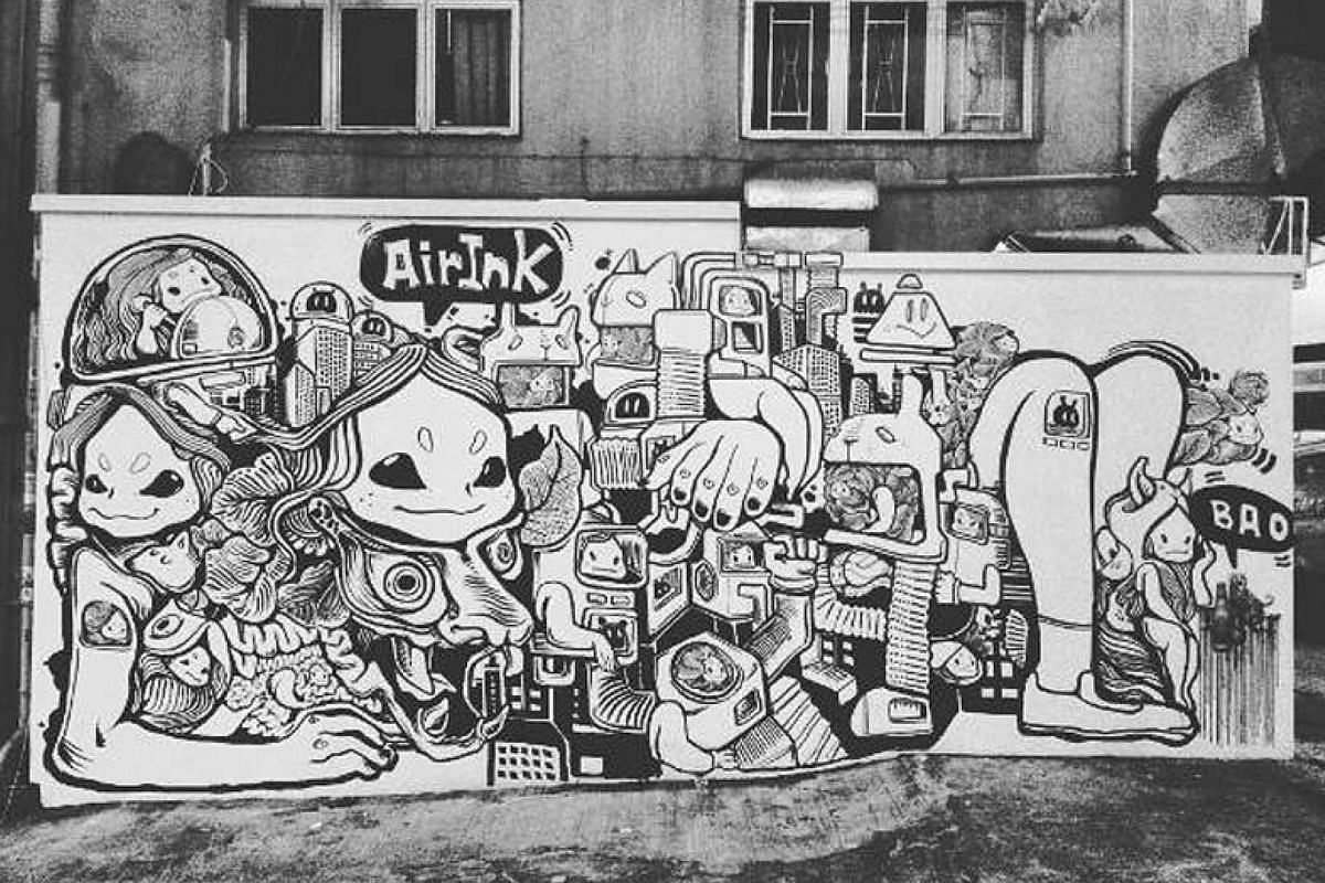 Kaalink is attached to a vehicle's tail pipe to filter out residual soot (far left). This is then chemically processed and turned into a purified carbon pigment that, in turn, becomes Air-Ink (left), which was used to paint this mural in Hong Kong (b