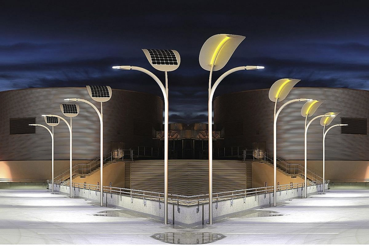 Solar-powered street lights can turn on and off when people pass by. EnGoPlanet's solar power project in Las Vegas aims to harness pedestrian power as well as the sun's energy to light up street lamps.