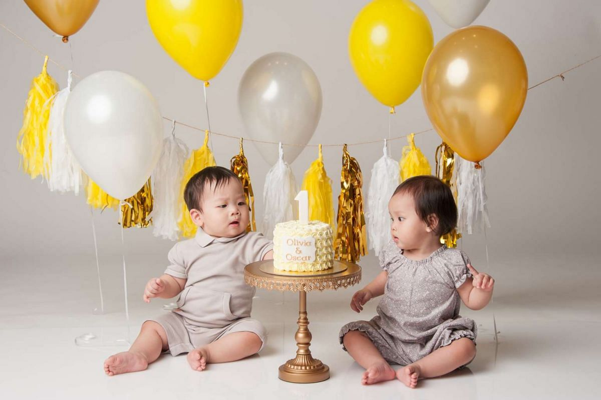 Spent $400: Twins Oscar (left) and Olivia at their cake smash photography session.
