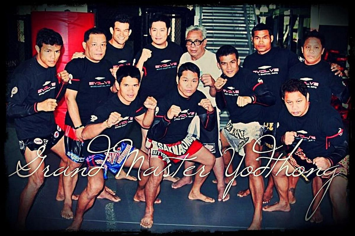 My life so far: Mr Chatri Sityodtong as a boy with his mother Michiyo and (above, back row, fourth from left) with muay thai trainer Yodtong Senanan (in white).