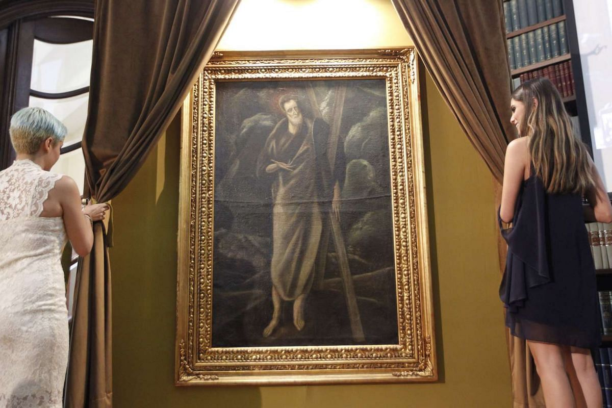 The unveiling of the oil painting 'Study of Saint Andrew' by Spanish artist 'El Greco' in Mexico City, Mexico, June 27, 2017. The oil painting disappeared from Spain in the middle of the Civil War and appeared in Mexico after almost half century. PHO