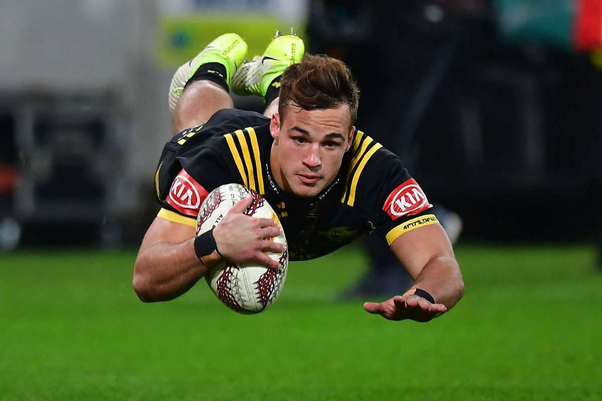 Wellington Hurricanes' Wes Goosen scores a try during the rugby union match against the British and Irish Lions at Westpac Stadium in Wellington on June 27, 2017. PHOTO: AFP