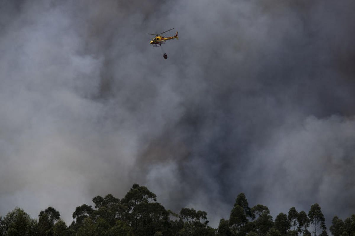 A helicopter dumping a load of water to contain the wildfires near the village of Avelar on Tuesday (June 20). The main fire, which erupted on Saturday (June 17), spread with breathtaking speed and engulfed in flames the remote villages in a hilly re