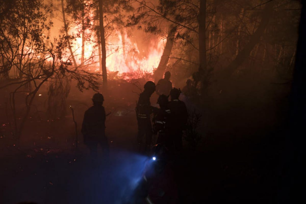 Firefighters in a valley near the village of Sandinha, Portugal on Wednesday (June 21) last week. Police say the fire was caused by dry lightning strikes and spread so quickly due to an unusually dangerous mix of low humidity, extremely high temperat