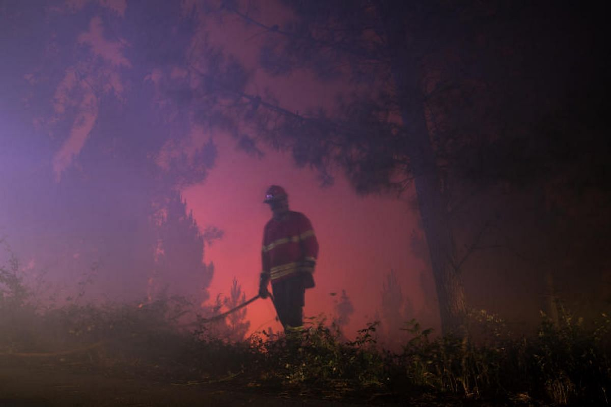A firefighter monitoring a raging fire in a valley near the village of Sandinha. Portugal has a small professional firefighting corps, but it relies on 40,000 volunteers, who often join as soon as they turn 18.