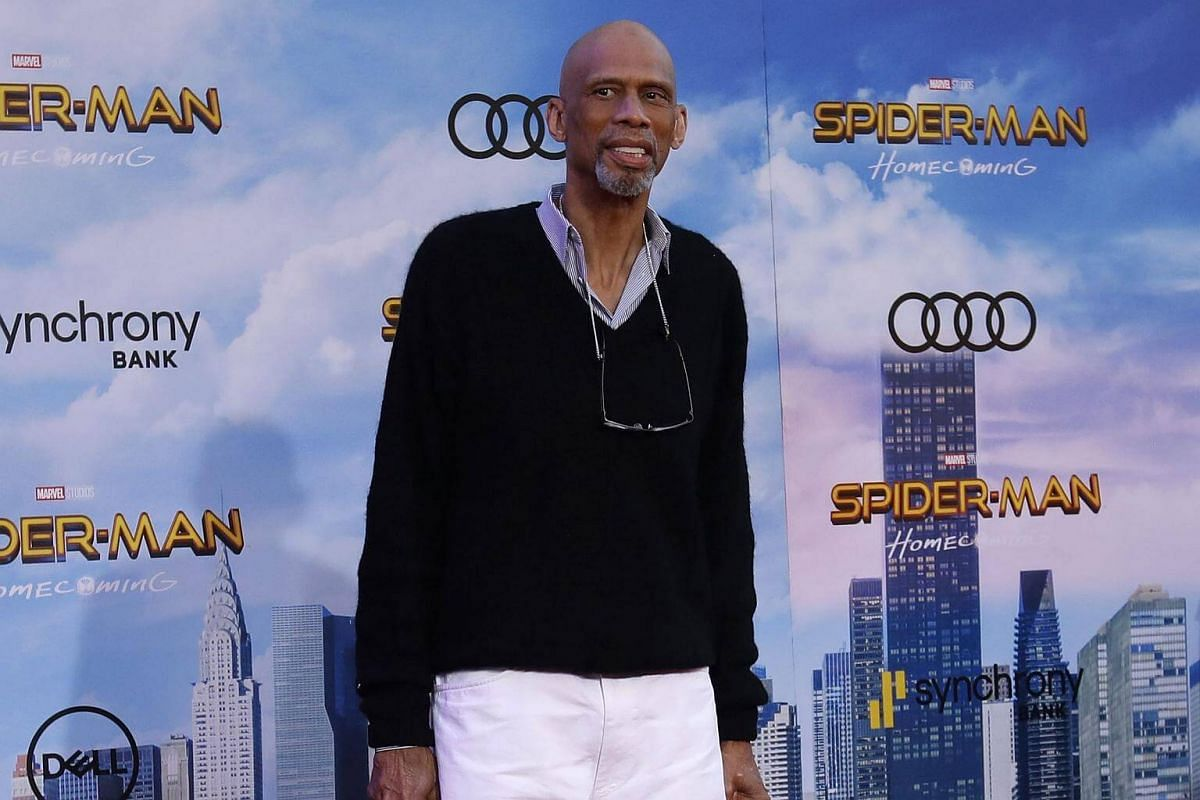 Retired basketball great Kareem Abdul-Jabbar attends the world premiere of Spider-Man at the TCL Chinese Theater in Hollywood, California on June 28, 2017.