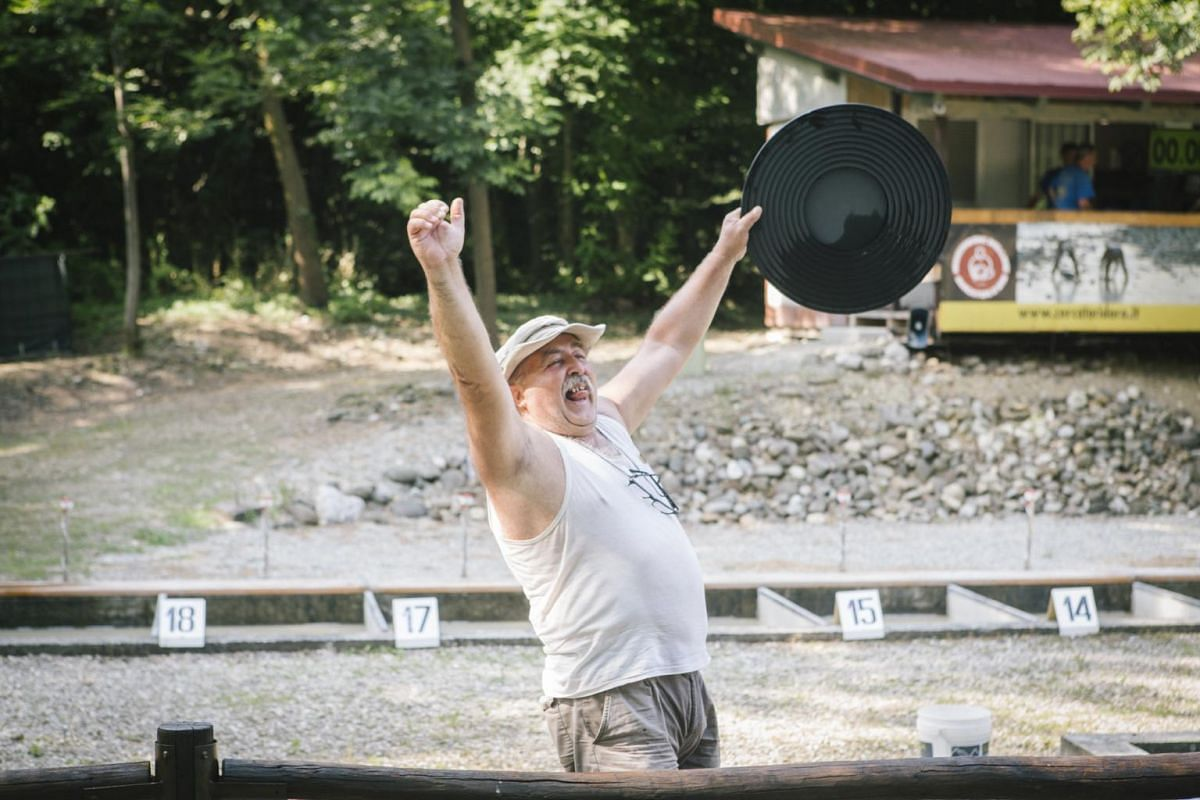 Giancarlo Rolando, 63, is declared the winner of the Italian Goldpanning Championship at the Victimula Gold Panner's Arena in the Bessa Natural Reserve in Zubiena, Italy on June 24, 2017.