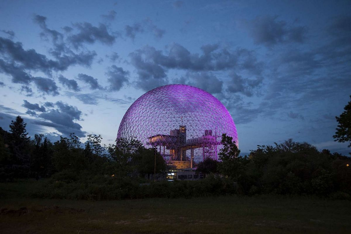 A photo released on June 30, 2017 shows The Montreal Biosphere, designed by Buckminster Fuller for the United States pavilion at Expo 67, in celebration of Canada's 100th birthday, in Quebec, May 30, 2017. PHOTO: THE NEW YORK TIMES