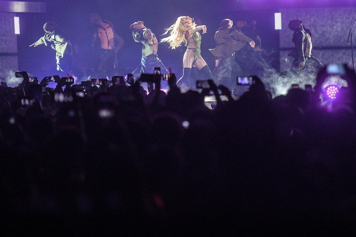 Britney Spears performing during her first full-length concert in Singapore on June 30, 2017.