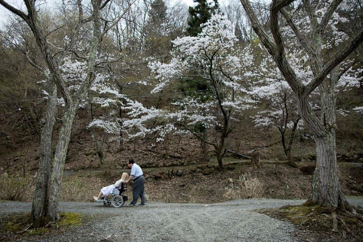 Senji Nakajima, 62, taking his silicone sex doll Saori to a picnic under the cherry blossoms in Yamanashi prefecture.