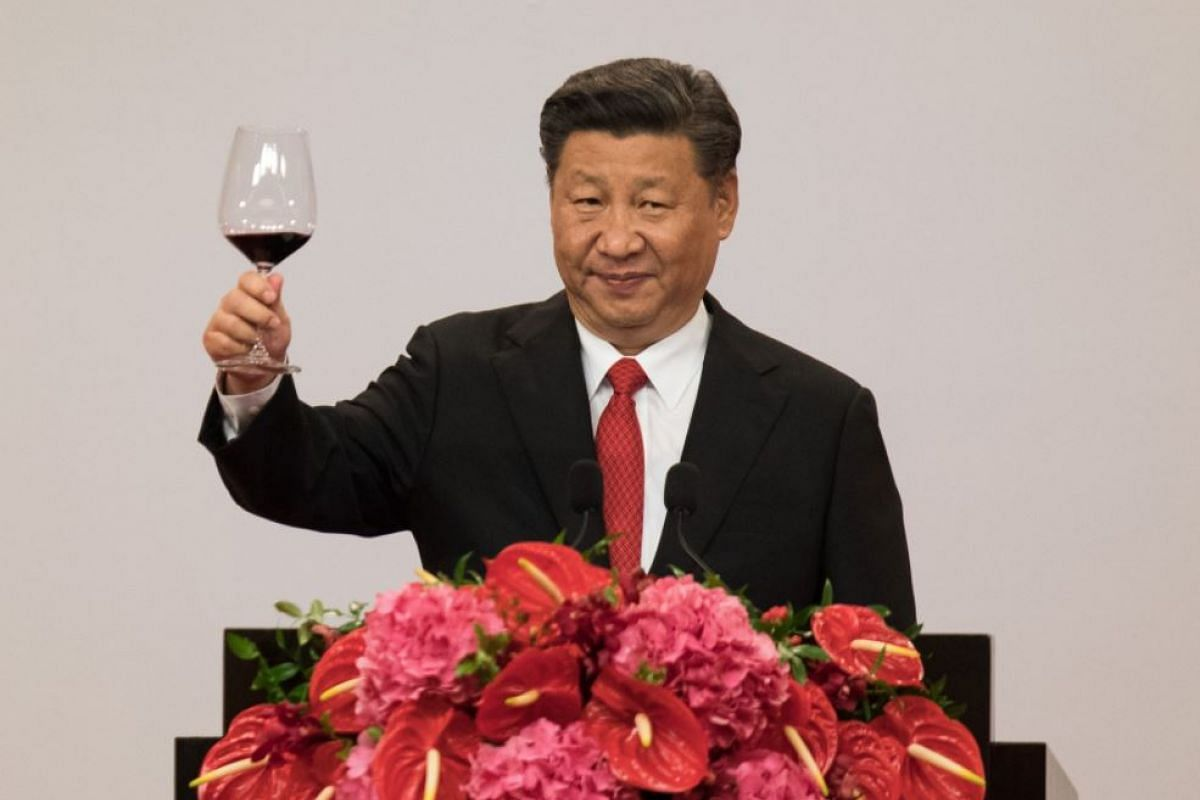 China's President Xi Jinping making a toast during a banquet in Hong Kong, on June 30, 2017.