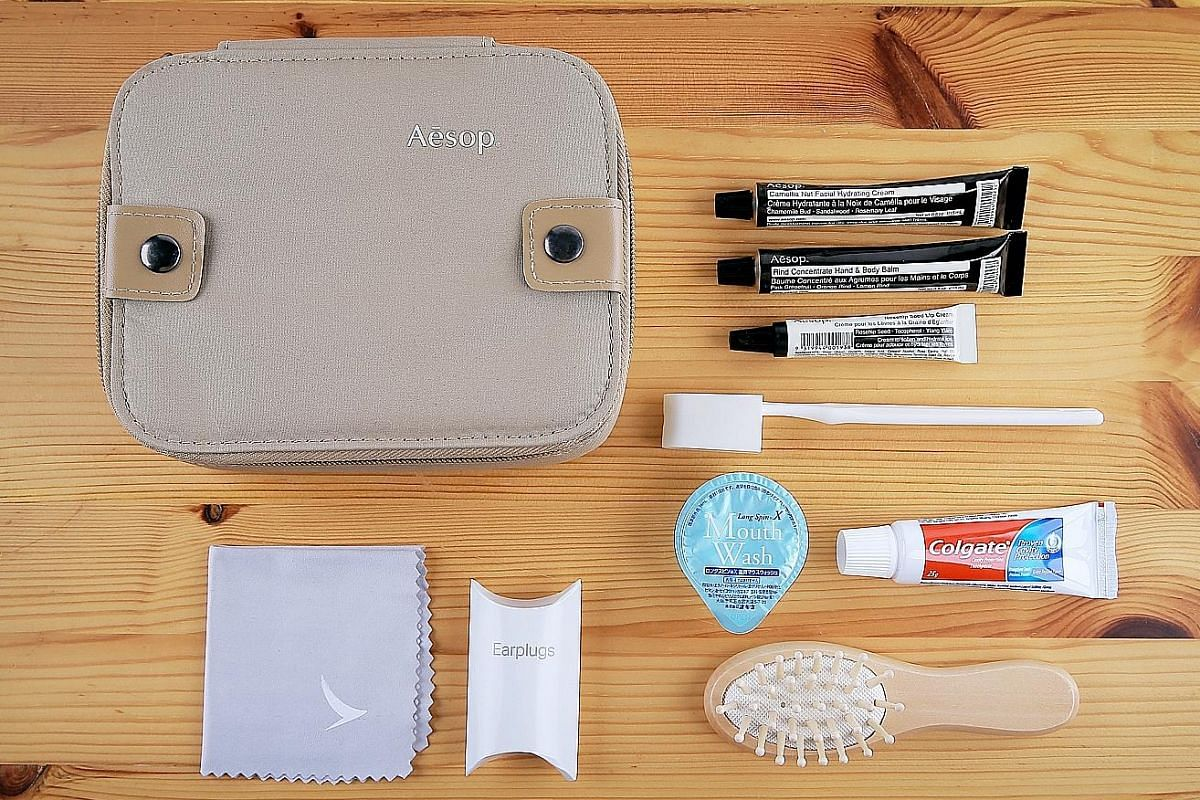 Cathay Pacific's first class amenity kit (above).