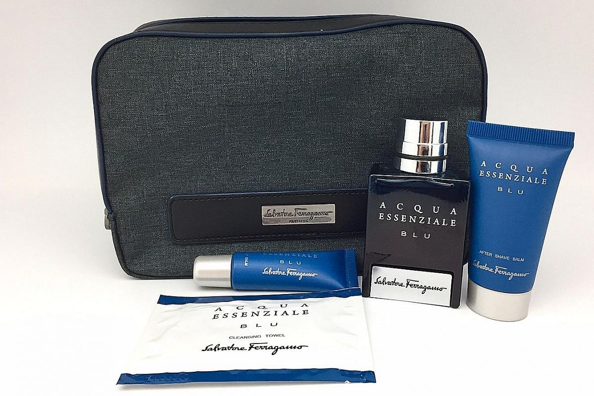 Singapore Airlines' first class amenity kit for men on select flights.