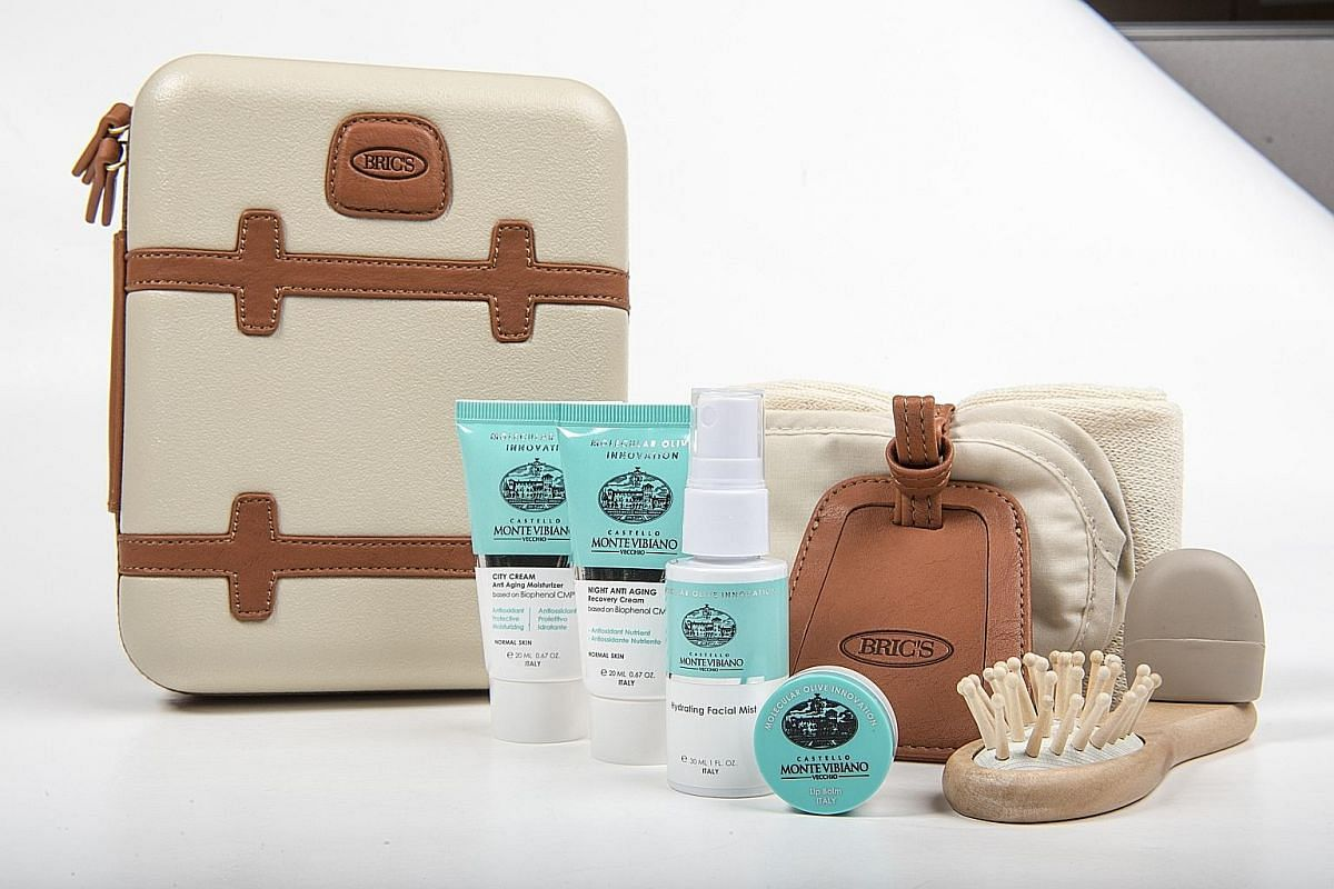 The amenity kit for first class travellers on Qatar Airways.
