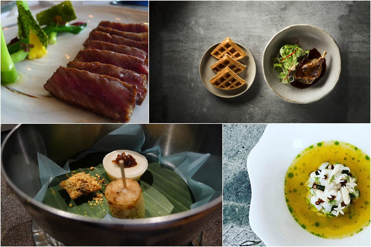 (Clockwise from top left) Ohmi wagyu from Saint Pierre, duck leg confit with salad and fluffy waffles from Cheek by Jowl, fremantle octopus, fermented wild garlic custard, young almonds, stem lettuce, roast chicken and saffron broth from Whitegrass a