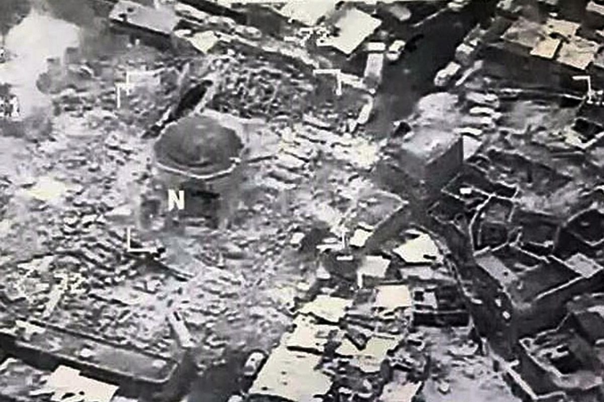 An aerial view of the remains of the Great Mosque of al-Nuri, in western Mosul, destroyed by ISIS as Iraqi security forces closed in.