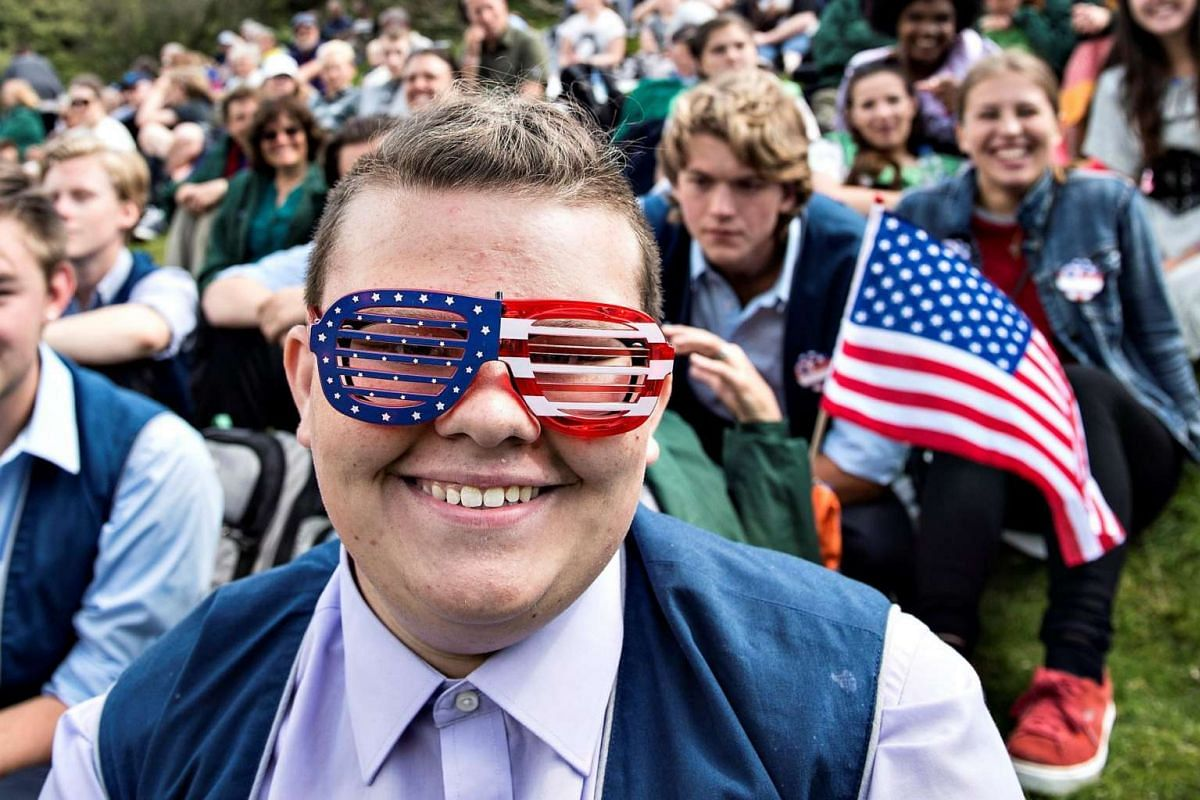 People attend the American 4th of July Independence Day celebrations in Rebild National Park in Rebild, Denmark, on July 4, 2017.