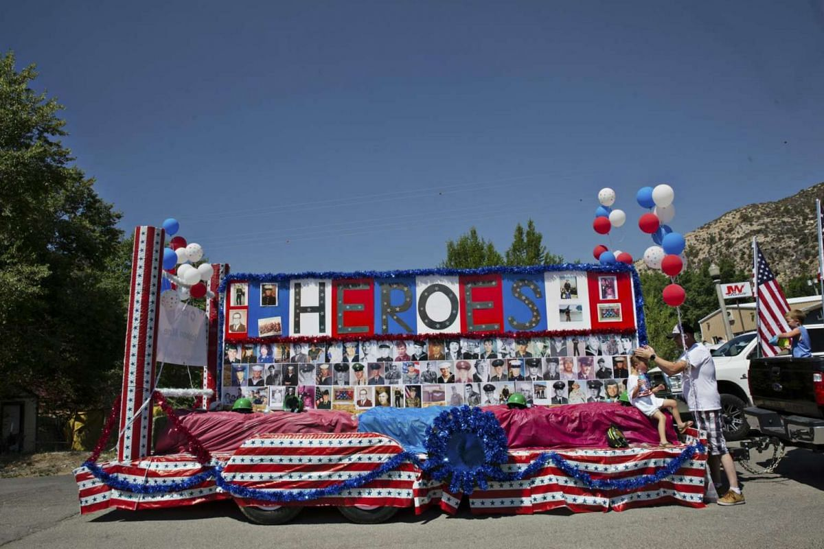 Floats line up before the Fourth of July parade in Ely, Nevada, on  4 July, 2017.