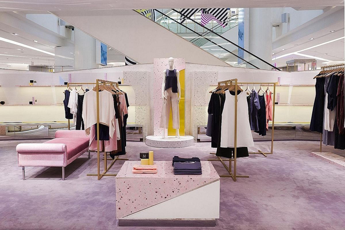 Beyond The Vines' store-in- store (above) on the ground floor of Emporium in Bangkok boasts the Singapore brand's signature pink branding and minimalist decor.