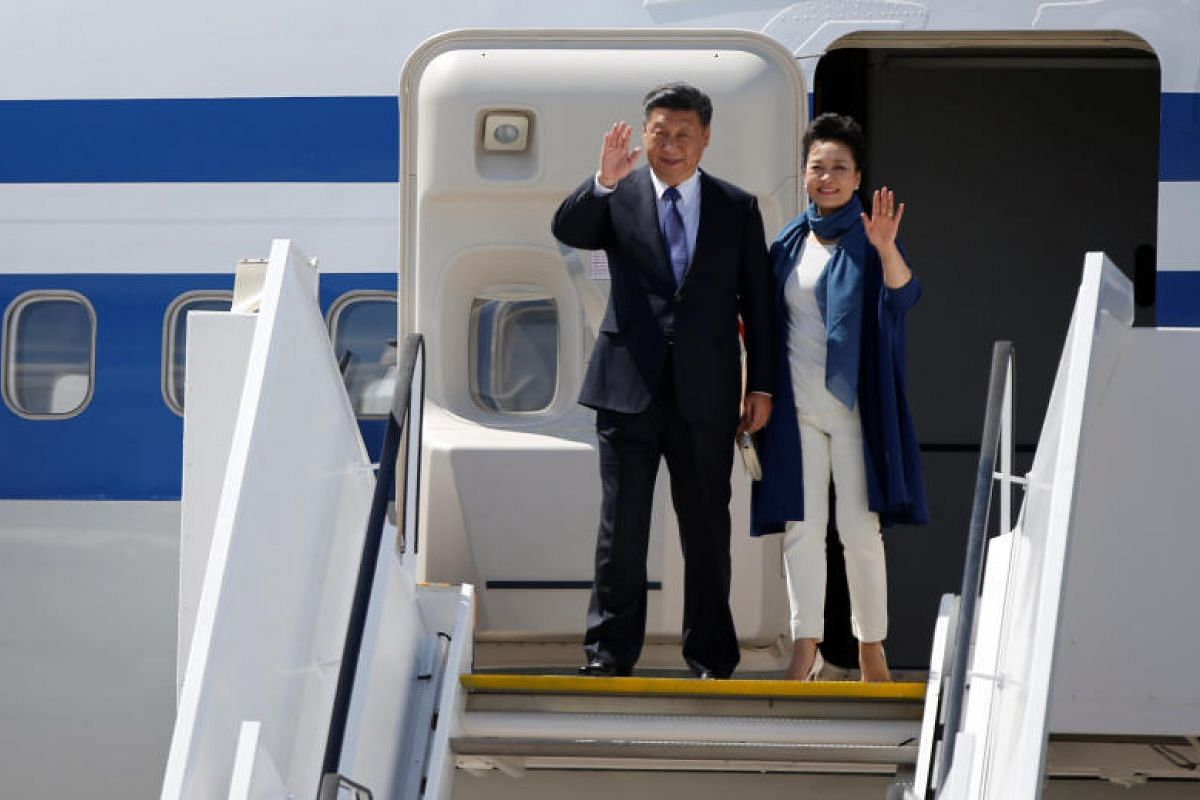 Chinese President Xi Jinping, leader of the world's second largest economy, and his wife Peng Liyuan are all smiles on arrival in Hamburg. The G-20 summit brings together the world's major advanced and emerging market economies for discussions on lea