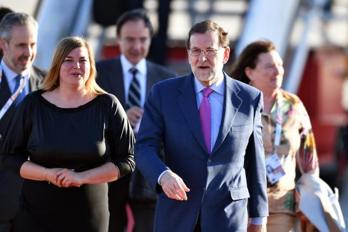 Prime Minister of Spain Mariano Rajoy arriving for the G-20 summit, which is expected to include discussions on North Korea's recent missile test and the US withdrawal from the Paris climate agreement, among other issues.