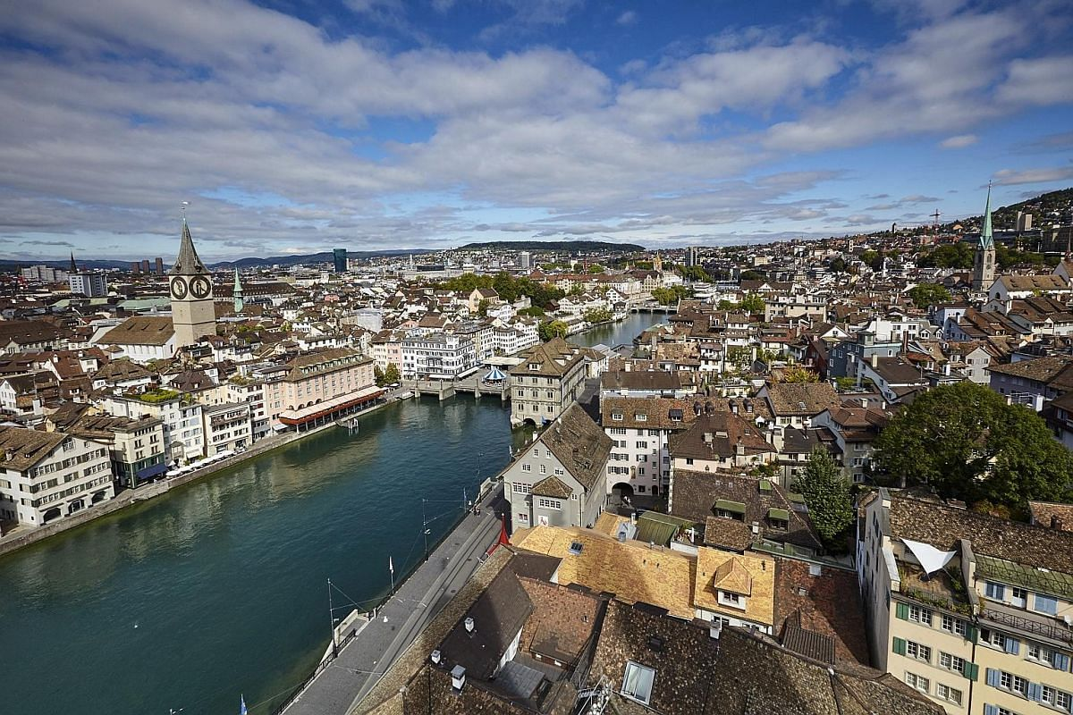 A view of Zurich's Old Town (Altstadt). Switzerland often acts as a go-between when two countries do not have diplomatic relations with each other.