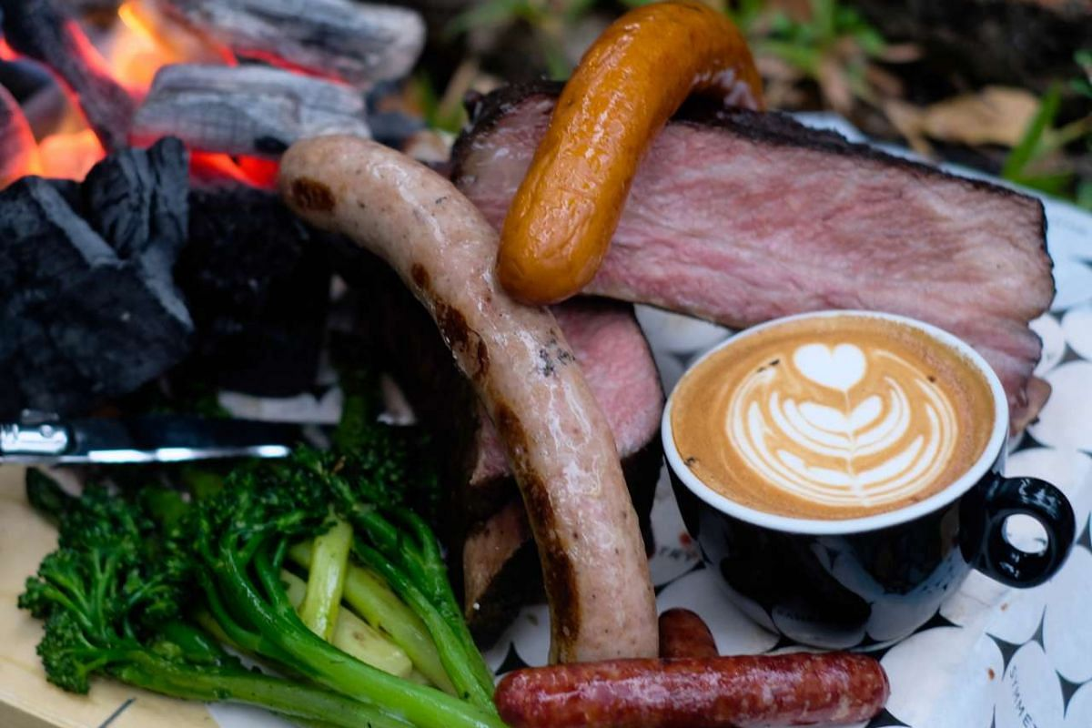 Hearty fare outdoors at the Sunset Wharf include items from Symmetry's barbecue station.