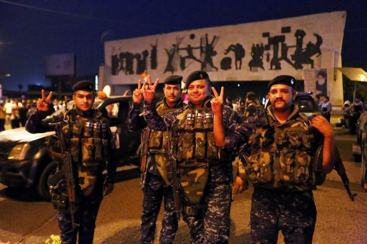 Iraqis in the capital Baghdad cheering the liberation of Mosul from ISIS militants after months of hard and bitter fighting.