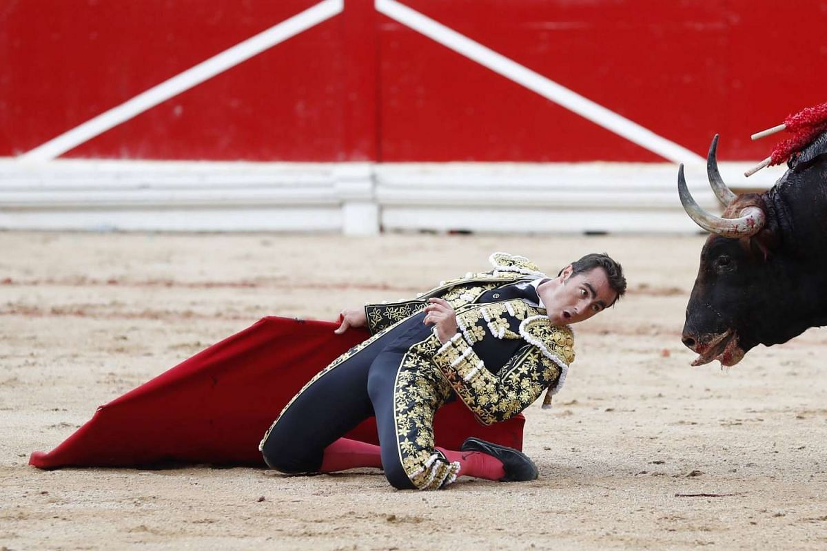 Spanish bullfighter David Fandila 'El Fandi' faces his second bull of the evening during the fourth bullfight of the Festival of San Fermin 2017 in Pamplona, Spain, July 10, 2017. The festival, locally known as Sanfermines, is held annually from July