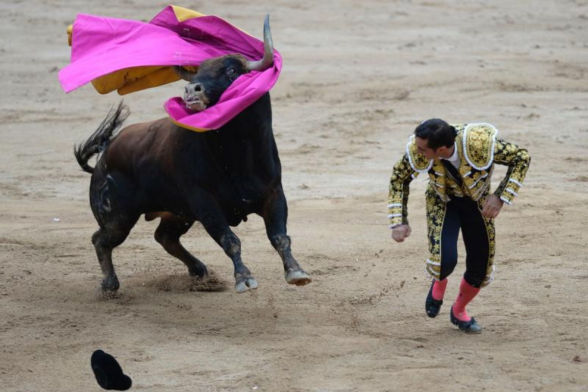Spanish matador Manuel Escribano loses his cape to the Fuente Ymbro's fighting bull during the fourth bullfight of the San Fermin Festival in Pamplona, Spain, on July 10, 2017.