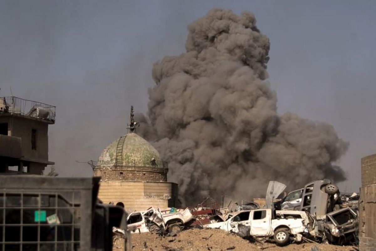 Smoke billowing in Mosul during the offensive by Iraqi forces to retake the embattled city from ISIS. Iraq's Prime Minister Haider al-Abadi declared victory in Mosul on Sunday, 10  months into a campaign to oust the terror group from the most densely