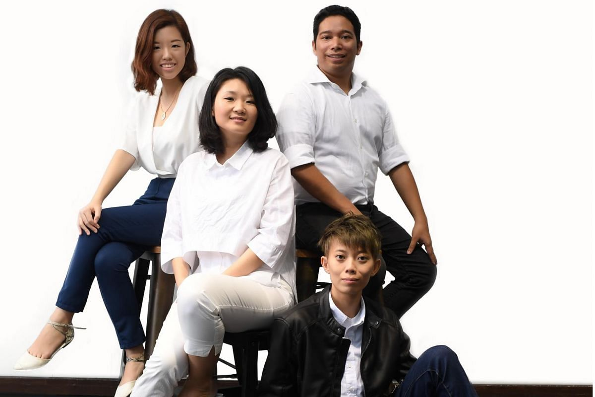 Four playwrights, Al Hafiz Sanusi, Gina Chew (white shirt, jeans), Samantha Chia (wearing all white) and Tan Jia Yee (in jacket, short hair), have their debut plays staged by Toy Factory Productions this month and next, under the group's The Wright S