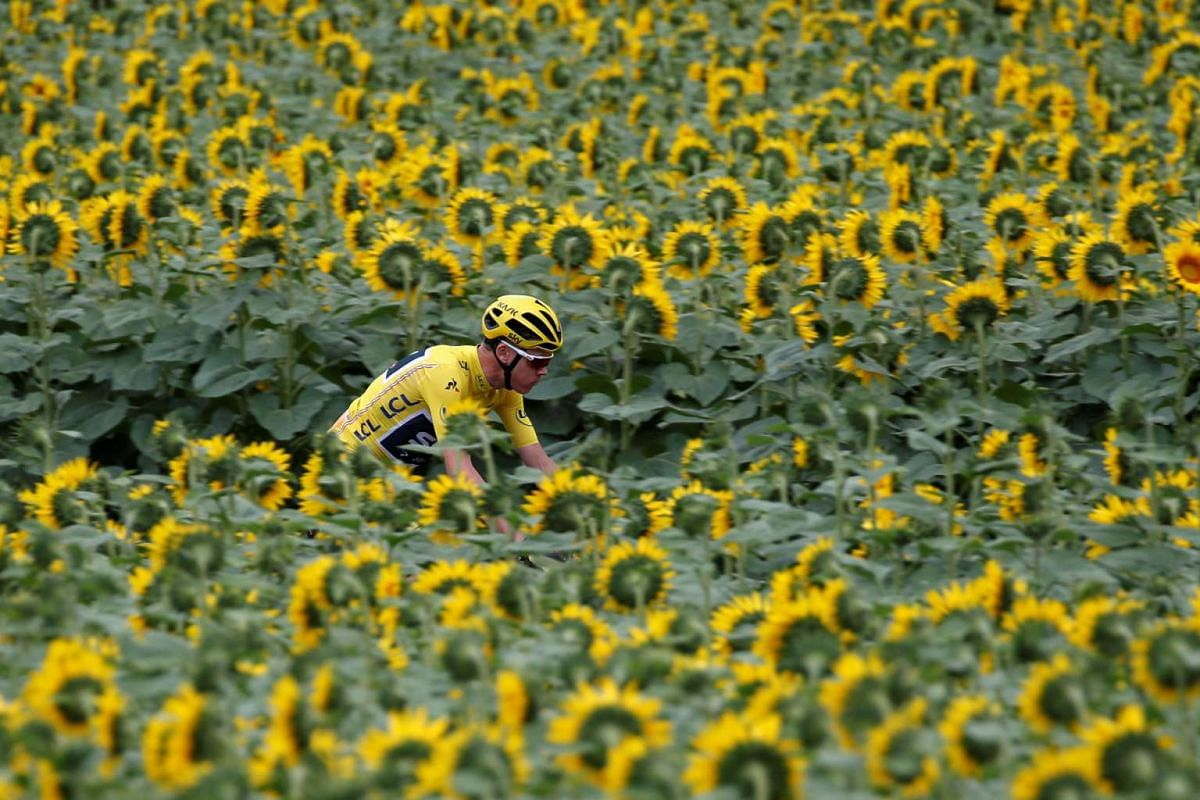 Team Sky rider Chris Froome of Britain, wearing the overall leader's yellow jersey at the 104th Tour de France cycling race on July 11, 2017.