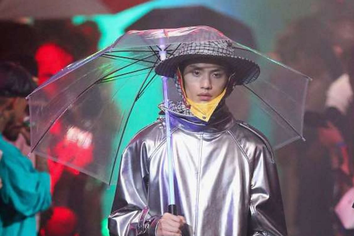 Shiny conical raincoats were a splashing hit at the show.