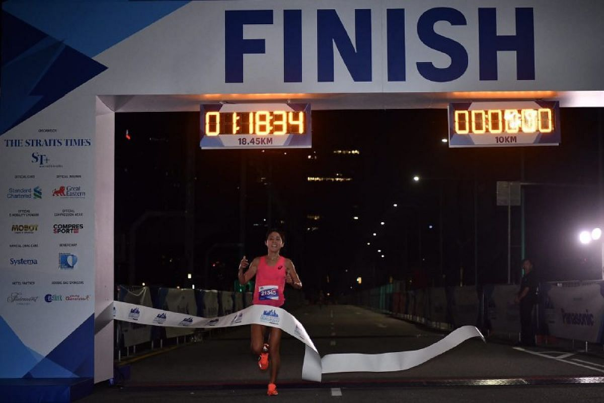 Rachel See, the third women's finisher, for the 18.45 km race, and the top female Singaporean.