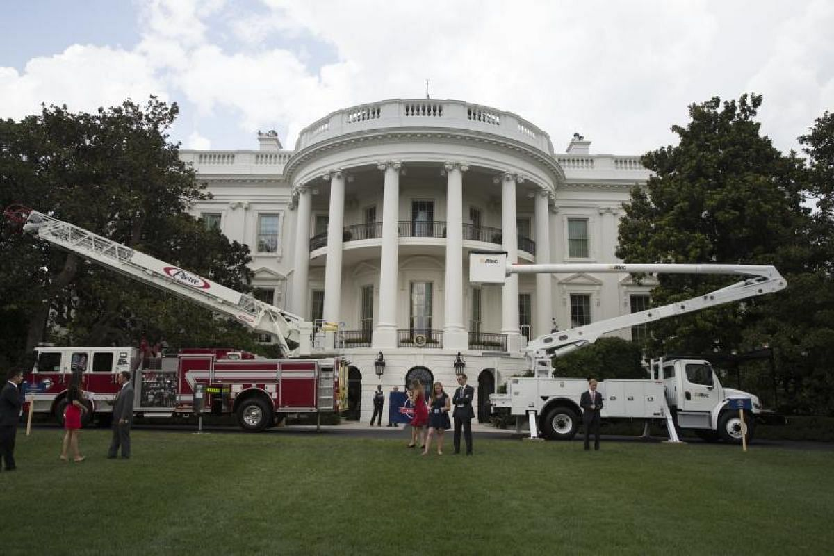 Industrial vehicles on display at the South Lawn of the White House. PHOTO: EUROPEAN PRESSPHOTO AGENCY