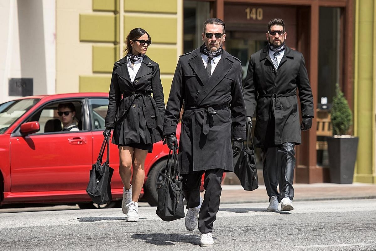 Bank robbers (from far left) Ansel Elgort (in car), Eiza Gonzalez, Jon Hamm and Jon Bernthal looking criminally sexy. American actor Ansel Elgort has come to terms with his fame and is learning to enjoy it.