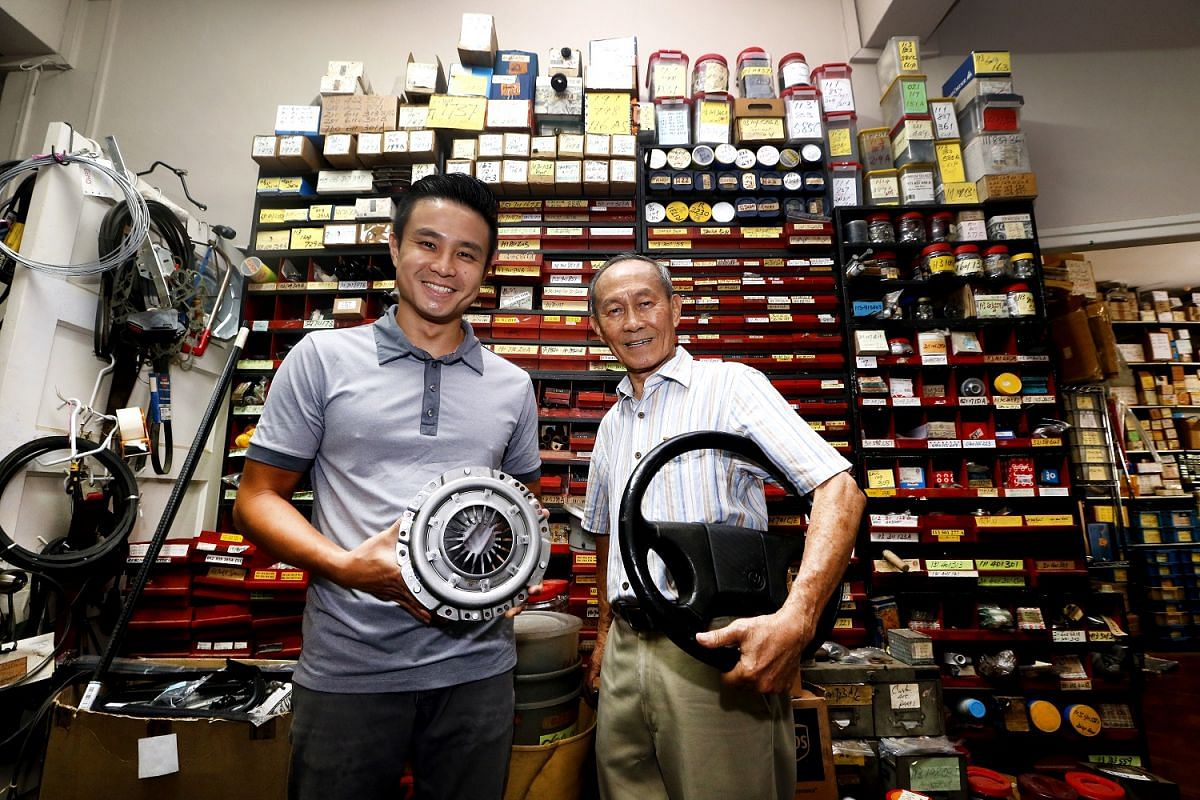 Mr Yap Swee Kee, 80, takes charge of the vintage car-parts trade while his son, Jeffrey, 41, is responsible for the business of servicing European-made cars.