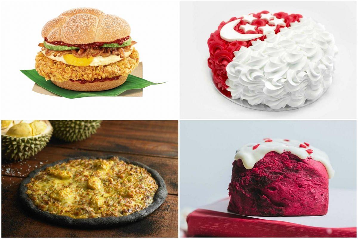 Clockwise from top left: McDonald's Nasi Lemak Burger, The Pine Garden's Gula Melaka Attap Chee Cake, The Bread Table's Love Singapore Red Velvet Cinnamon Bun and and Pezzo's Durian King pizza.
