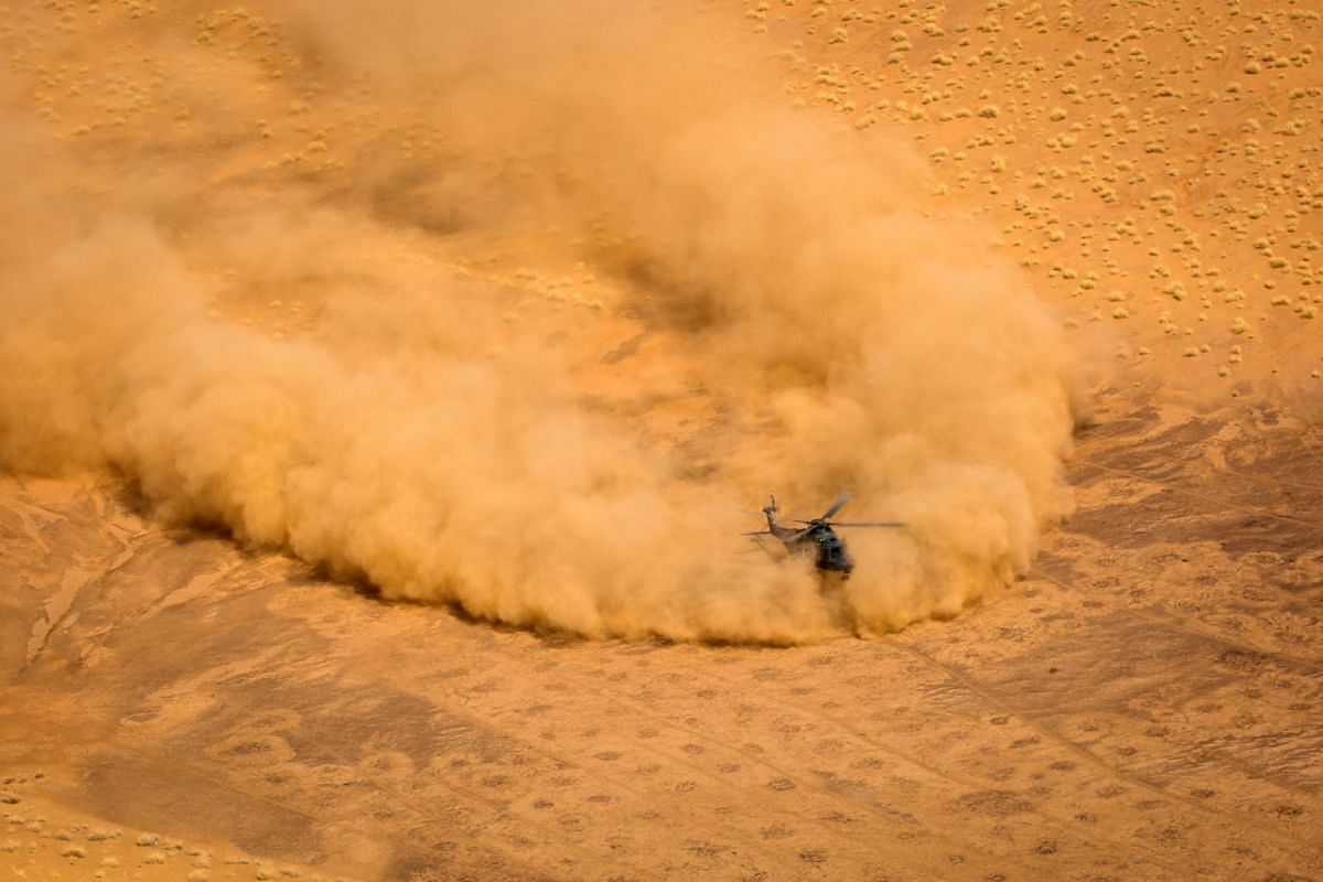 A NH-90 rescue helicopter landing in the desert of North Mali during MINUSMA mission in Mali, April 20, 2017. According to several media reports citing UN officials on July 26, 2017, a German military helicopter serving in a UN peacekeeping mission