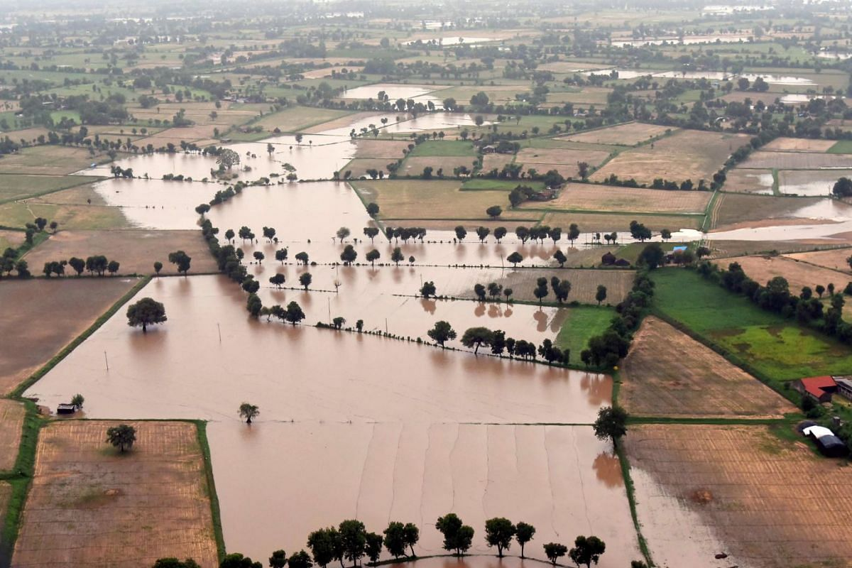 A handout photo made available by Gujarat Information Department shows flood affected areas, as Indian Prime Minister Narendra Modi conducted an aerial survey of flood affected areas of North Gujarat, India, July 25, 2017. According to news reports 3