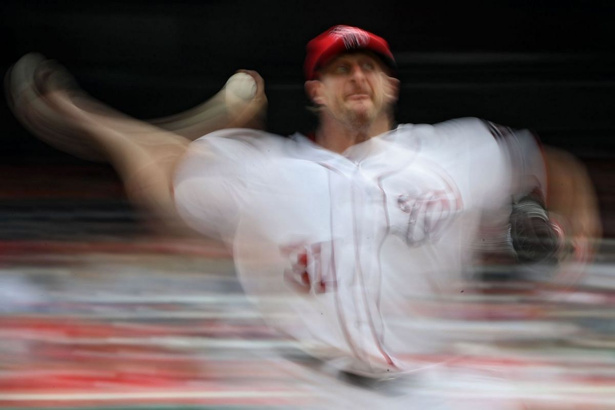 Starting pitcher Max Scherzer #31 of the Washington Nationals works the second inning against the Milwaukee Brewers at Nationals Park on July 27, 2017 in Washington, DC.