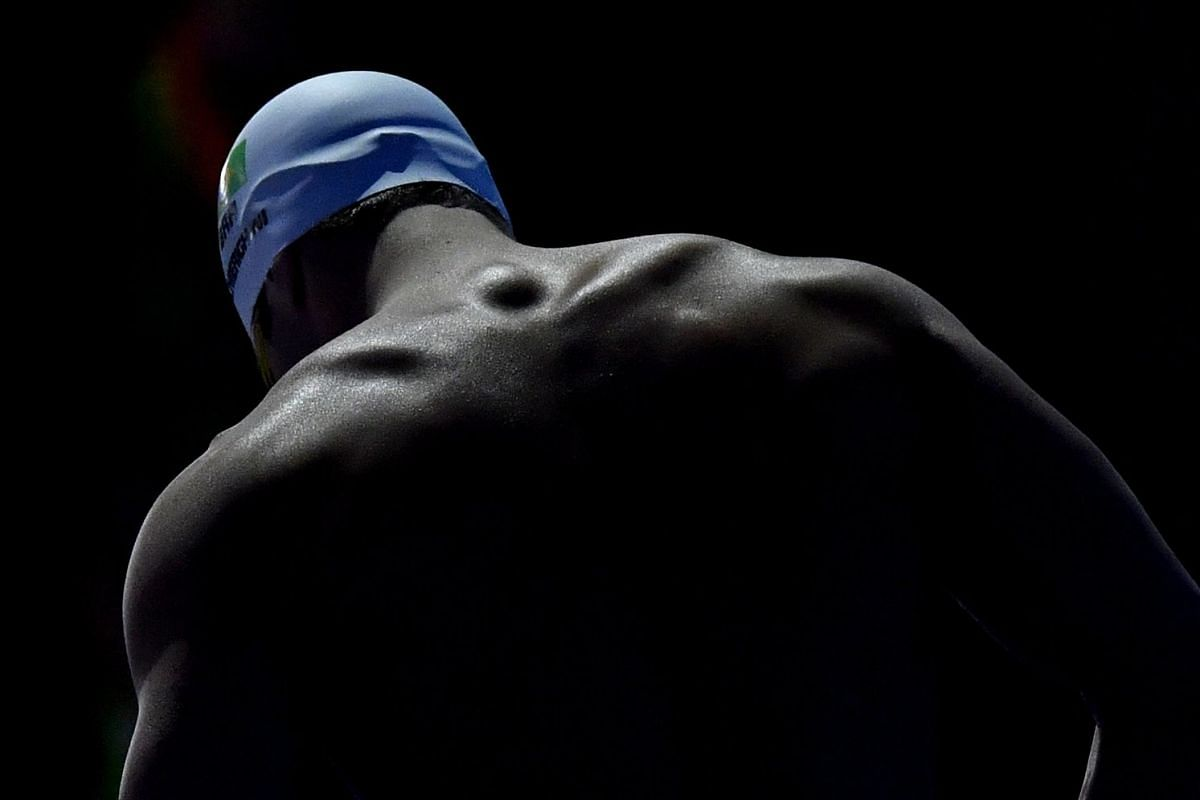 Marcelo Chierghini of Brazil warms up before the men's 100m freestyle final at the 17th FINA World Championships 2017 in Budapest, Hungary, on July 27, 2017.