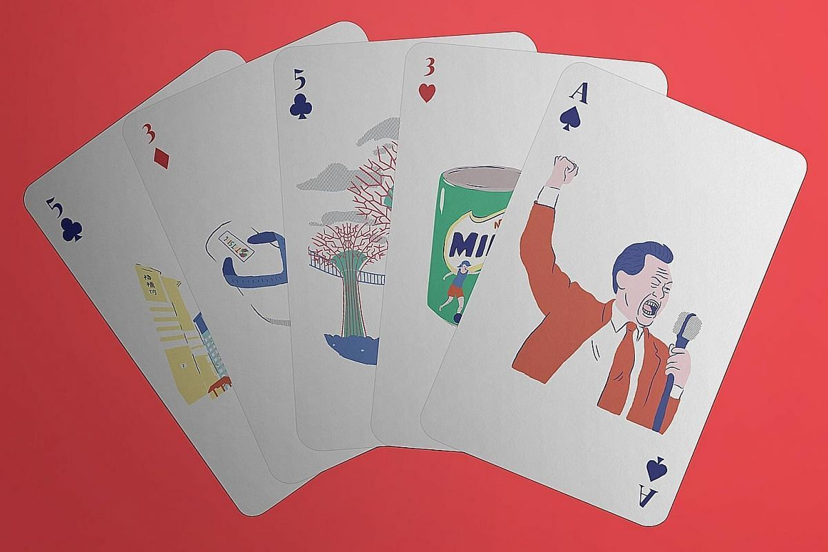 A deck of playing cards each featuring a different Singapore icon.