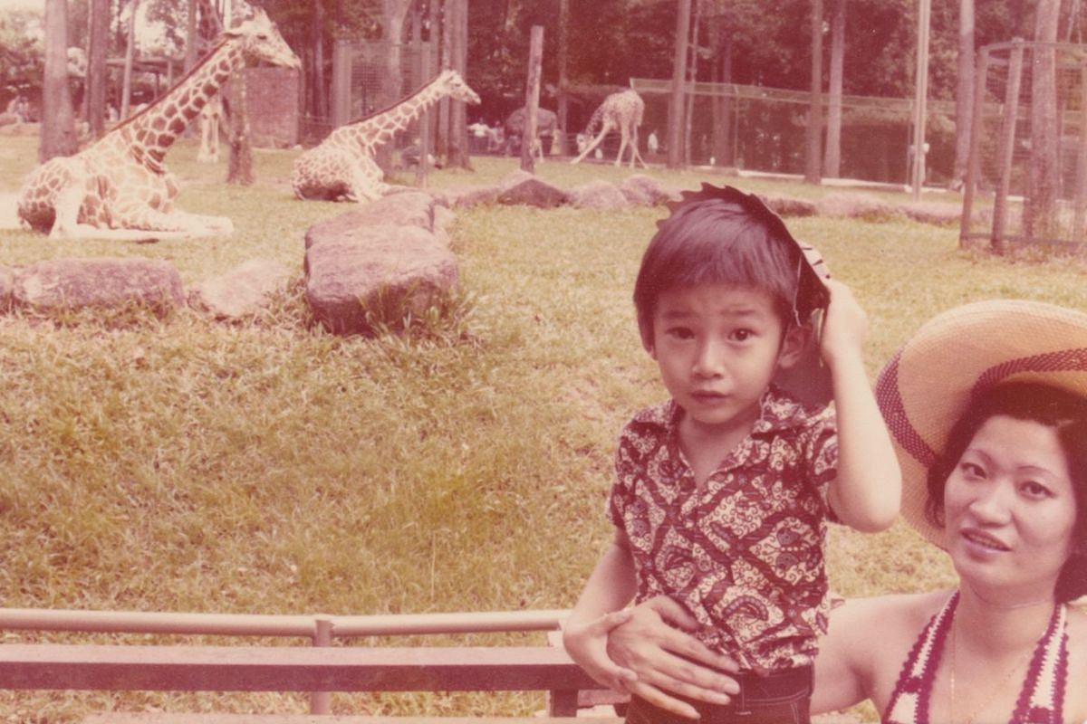 My Life So Far: Mr Kennie Ting, aged five, with his mother Helen Ong at the zoo.